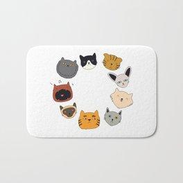 cute cat doodles circle #4 Bath Mat