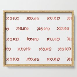 XOXO Fashion Love Rose Gold Pattern Serving Tray
