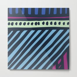Mid-Century Modern Abstract Pattern In Blue & Pastel Mint Metal Print