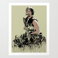 daryl Art Prints featuring Daryl Dixon by Huebucket