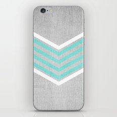 Teal and White Chevron on Silver Grey Wood iPhone & iPod Skin
