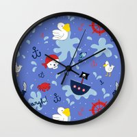 pirates Wall Clocks featuring Pirates by lindsey salles