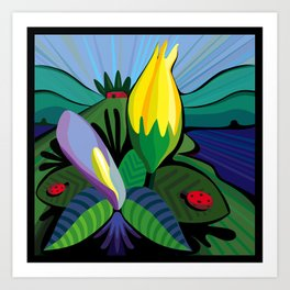 Flowers at the Lake House Art Print