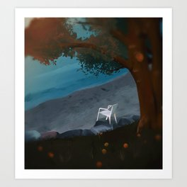 Loneliness By The Water Art Print