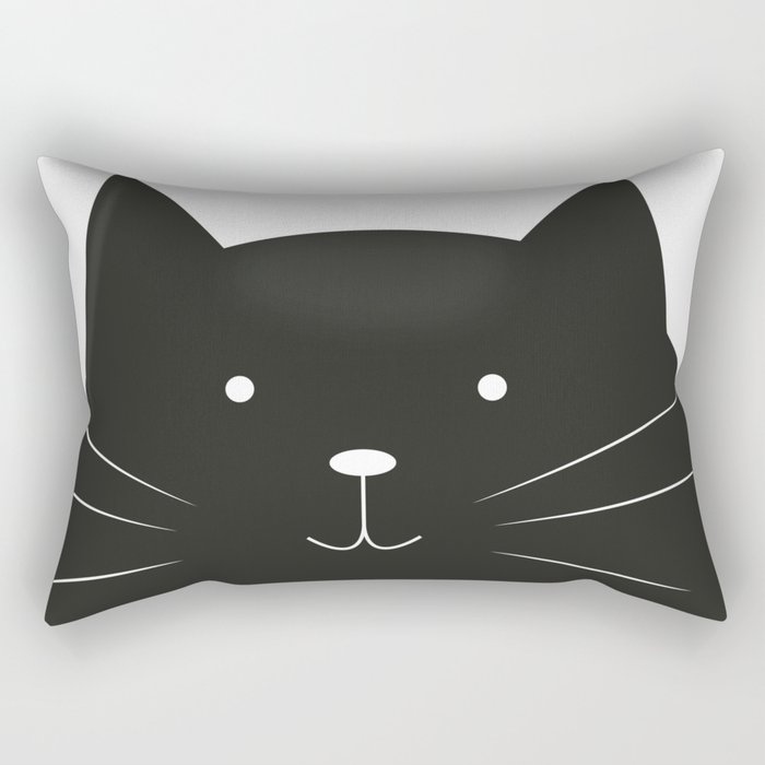 Cute cartoon black cat Rectangular Pillow