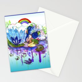 The blue lily water Stationery Cards