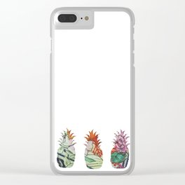 3 pineapples fabric Clear iPhone Case