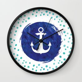 Watercolor Ship's Anchor Wall Clock