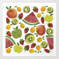 fruits Art Prints featuring fruits by Ana Rey