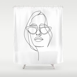 """""""Profile Collection"""" - Woman With Sunglasses And Messy Hair Shower Curtain"""