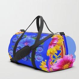 BUTTERFLIES FUCHSIA DAHLIA SUNFLOWER MORNING GLORY BLUE  FLORAL Duffle Bag
