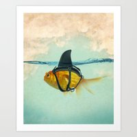 gold Art Prints featuring Brilliant DISGUISE by Vin Zzep