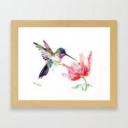 Little Hummingbird and Pink Flower, Bird art, minimalist bird painting, soft pink olive green design Framed Art Print