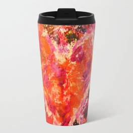 MEND ME - Broken Heart Abstract Artwork Bright Bold Crimson Red Magenta Black Leopard Print Travel Mug