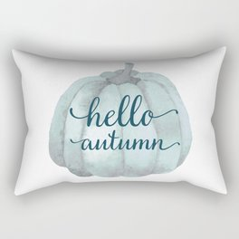 Hello autumn- blue pumpkin white background Rectangular Pillow