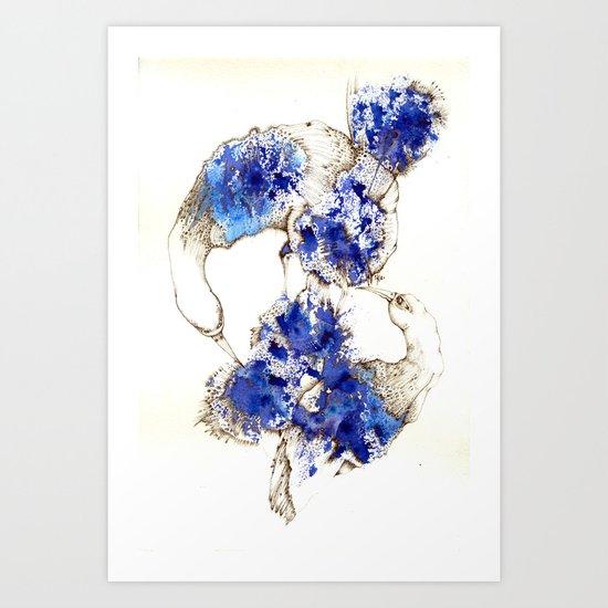 Oiseaux Bleu Art Print