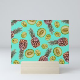 Pineapple - Honeymoon - Kiwi Fruits pattern turquoise Mini Art Print