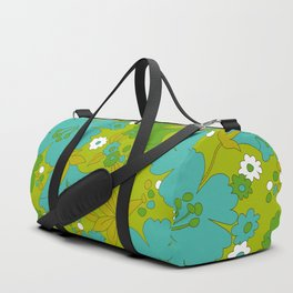 Green, Turquoise, and White Retro Flower Design Pattern Duffle Bag