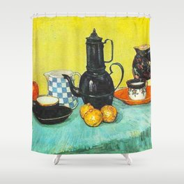 Still Life - Blue Enamel Coffeepot, Earthenware and Fruit by Vincent van Gogh - Vintage Painting Shower Curtain