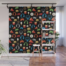 Video Game Party Snack Pattern Wall Mural