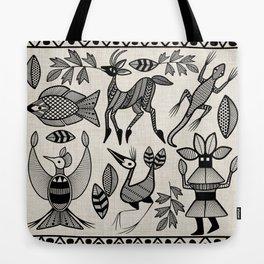 African Senufo Korhogo Tribal Ethnic Art Seamless Pattern Tote Bag