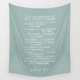 Family Manifesto (Teal) Wall Tapestry