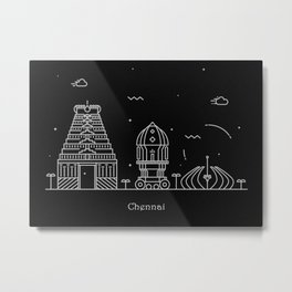 Chennai Minimal Skyline Drawing Metal Print