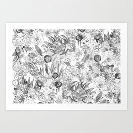 Floral Black and White Art Print
