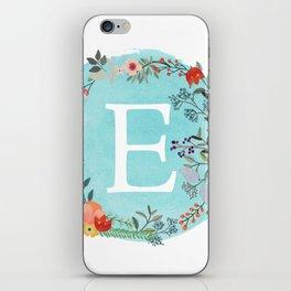 Personalized Monogram Initial Letter E Blue Watercolor Flower Wreath Artwork iPhone Skin