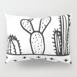 Cactus House Garden Black and White Pillow Sham
