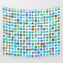 color rectangles 009 - blue and brown Wall Tapestry