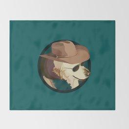 Golden Retriever in a Cowboy Hat Throw Blanket