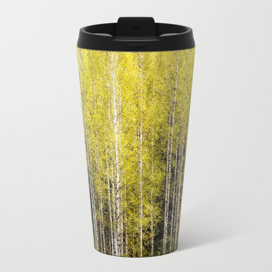 Lovely spring atmosphere - vibrant green leaves on the trees - beautiful birch grove Metal Travel Mug