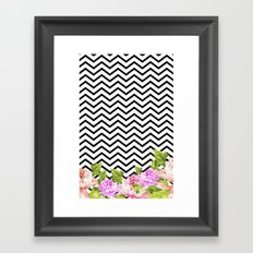 FLORAL CHEVRON Framed Art Print
