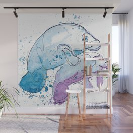 Manatee Mommy with Her Baby Wall Mural