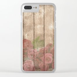 Vintage Shabby Chic Elegant Country Wine Roses Clear iPhone Case