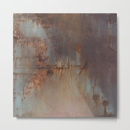 Rust and Pink Watercolor Abstract III Metal Print