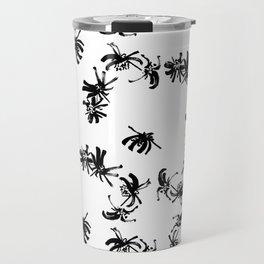 Ink Stroke: Black Floral II Travel Mug
