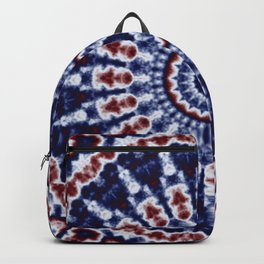Mandala Fractal in Red White and Blue 02 Backpack