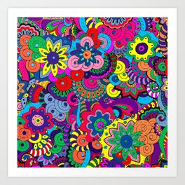 Digital Flowers - Doodles Art Print