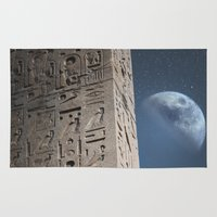 egyptian Area & Throw Rugs featuring Egyptian Moon by Vin Zzep