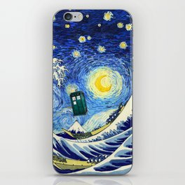 flying tardis in starry night iPhone Skin