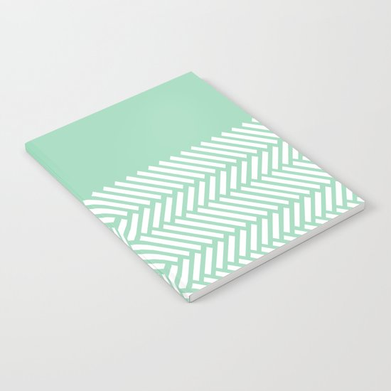 Herringbone Mint Boarder Notebook