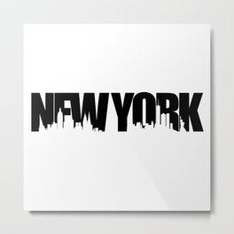 New York Skyline Black Metal Print
