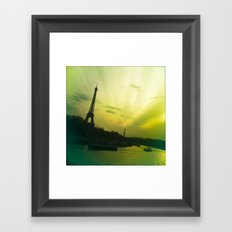 Eiffel By Bridge Framed Art Print