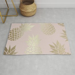 Festive, Pineapple Art, Pink and Gold Rug