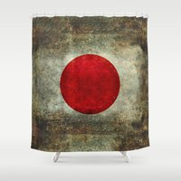 propaganda Shower Curtains featuring The national flag of Japan by Bruce Stanfield