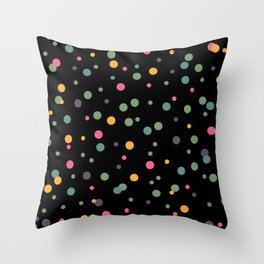 Happy Rounds on Black Throw Pillow