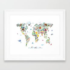 Animal Map of the World for children and kids Framed Art Print