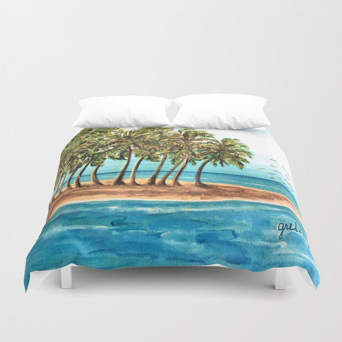 Private Island Painting Duvet Cover